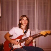 Todd w/first guitar, late 60's Dakota Red Fender Mustang