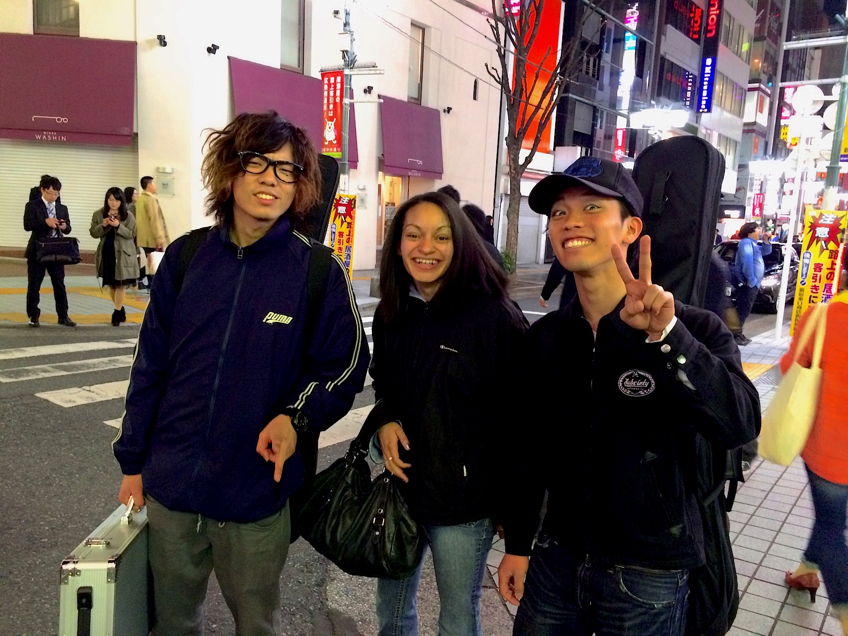 Justine with new friends in Japan