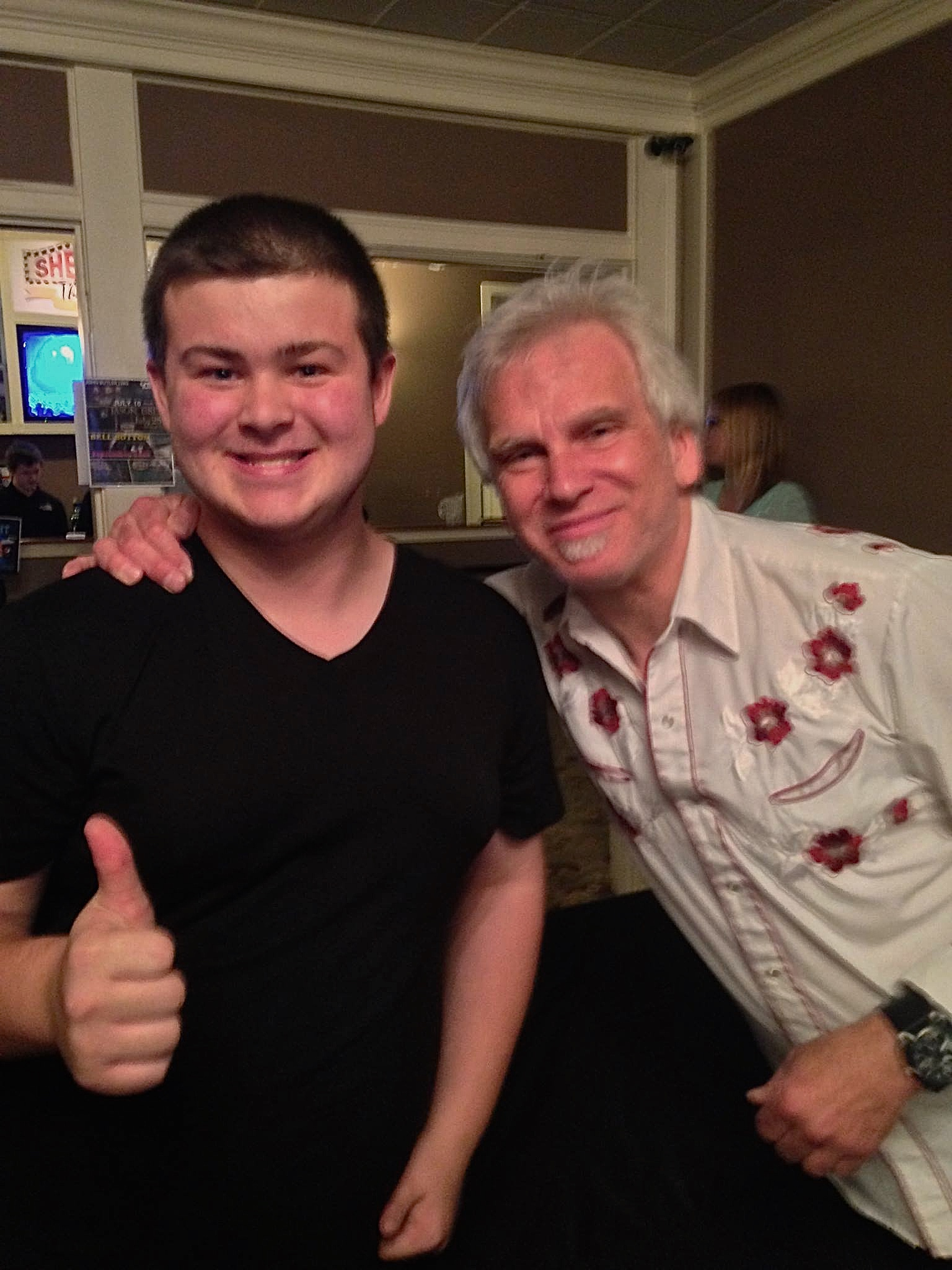 Todd with Matt a young music fan @ Sherman Theater/Gary Clark Jr show